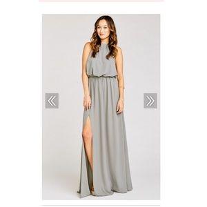 HEATHER HALTER DRESS- Soft charcoal grey